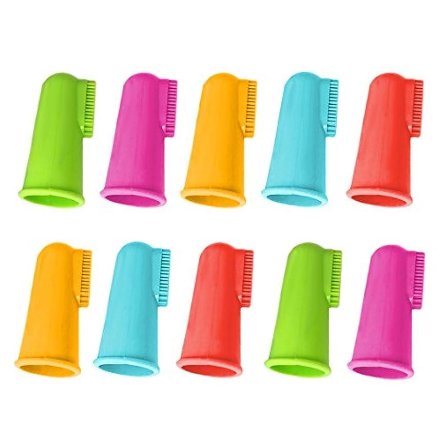 粘性の間隔リングゴシレ® [Gosear®] 10個の柔らかいシリコーンのペット指の歯ブラシの歯のクリーニングの歯ブラシの子犬猫の歯科心配のきれいなランダム色