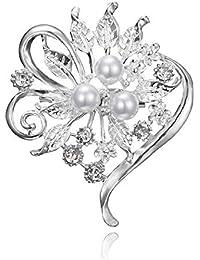 SKZKK女性のためのエレガントなジュエリーフラワーリーフクラスタードレスブローチピン、ウェディングパールのために作成されたクリスタルピンパールインレイダイヤモンド花嫁の??ために作成された