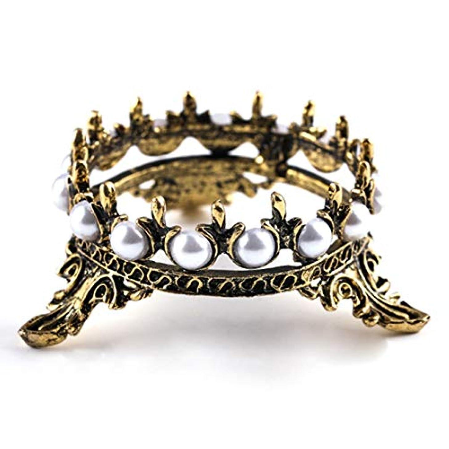 君主変色するインフルエンザWadachikis 珍しい1 xクラウンスタンドペンブラシホルダーパールネイルアートペンラックマニキュアネイルアートツール必需品(None Bronze crown pen holder)