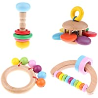 homylパックof 4木製Montessori Styled Baby Rattles Grasping Toy赤ちゃん幼児のため