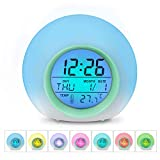 Wocst Alarm Clock, Wake Up Light Digital Clock with Indoor Temperature & Calendar & 6 Natural Sound & 7 Colors Changing Light for Kids, Children, Working Parents, Students etc (Green)