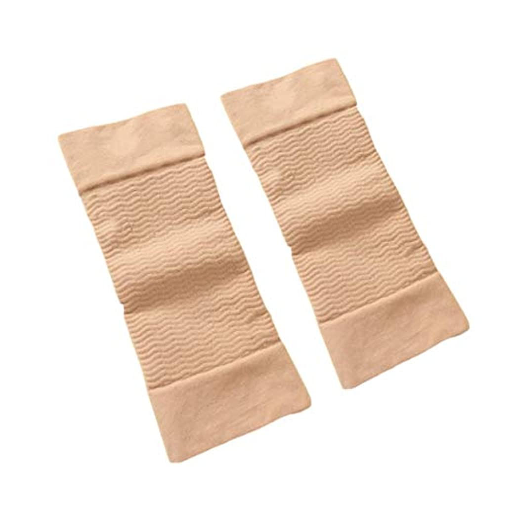 記述する現れる肘1ペア420 D圧縮痩身アームスリーブワークアウトトーニングバーンセルライトシェイパー脂肪燃焼袖用女性 - 肌色