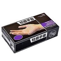 使い捨て手袋ラテックスプラスチックスリーブ医療ゴムミトン厚いケータリング美容家庭用グローブ1ボックス/ 100 (サイズ さいず : Transparent L)