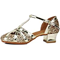 HIPPOSEUS Girls T-Strap Glitter Sequins and Bright Leather Salsa Tango Ballroom Latin Party Dance Shoes,Model TX53-3