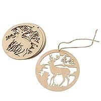 【ノーブランド品】クリニーク 手作り 丸い 木製 中空 鹿デザイン クリスマスの飾り ぶら下げ