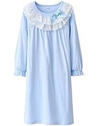 UNOPRO パジャマ キッズ ネグリジェ 女の子 長袖 夏 綿100% ナイトドレス ルームワンピース ガールズ ルームウェア 部屋着 ナイトウェア 寝間着 ブルー