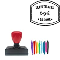Train Tica 9 *To Rome Rectangle Badge Style Pre-Inked Stamp