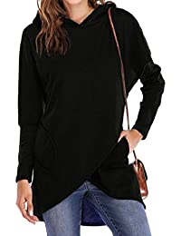 maweisong 女性スタイリッシュ不規則ヘムルーズフィットフードポケットスウェットシャツ