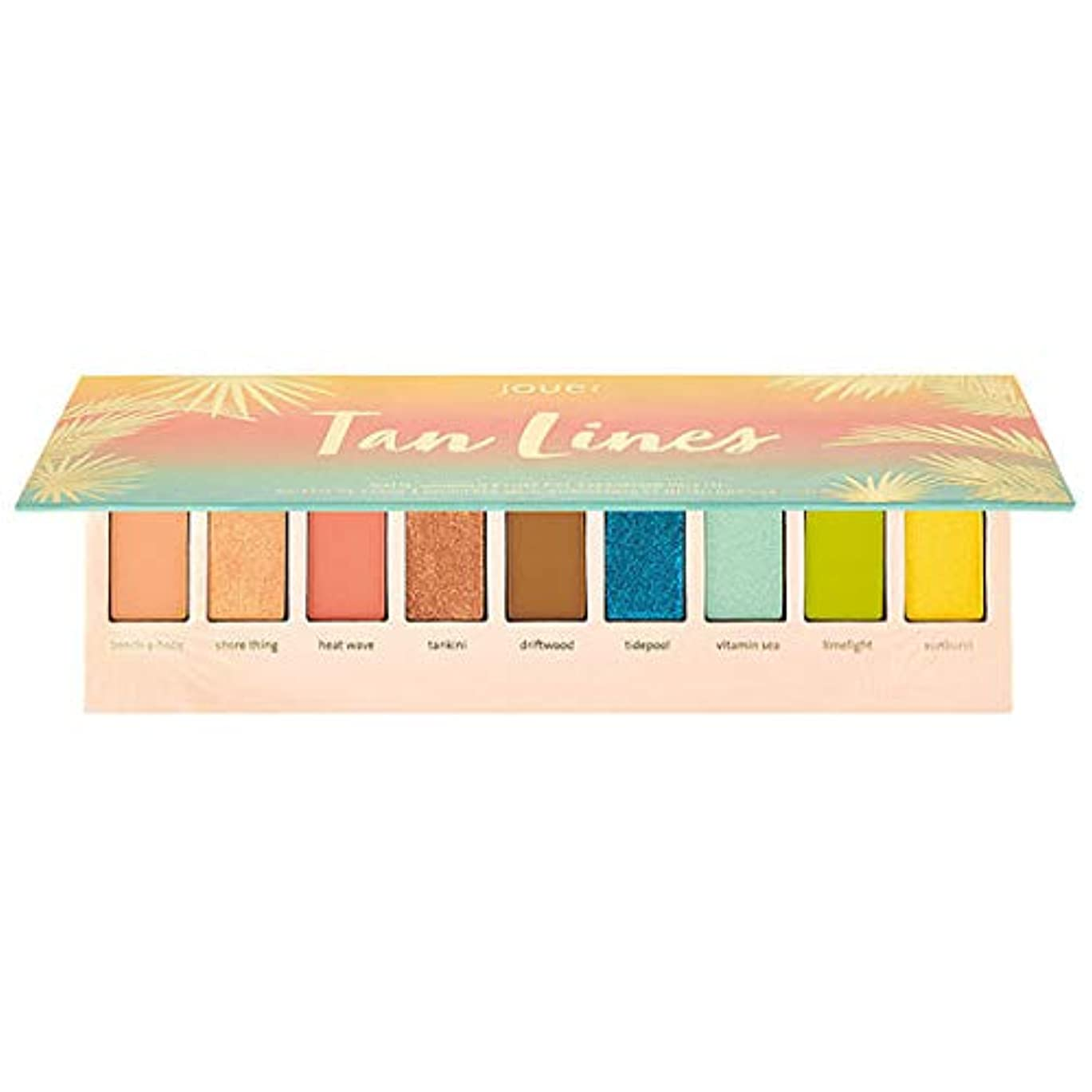 些細なストライプ目の前のJouer Cosmetics Tan Lines Matte, Shimmer & Luxe Foil Eyeshadow Palette