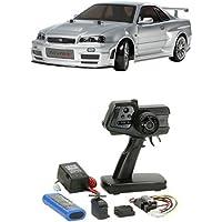 【セット商品】 タミヤ 1/10 電動RCカーシリーズ No.605 ニスモ R34 GT-R Z-tune + ファインスペック 2.4G 電動RCドライブセット