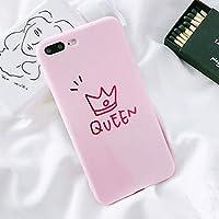 SDFNXCM 携帯ケース光沢のある王冠電話ケースのためのiphone xケースのためのiphone 7プラス6 6 s 8プラスかわいい手紙キング女王ソフトtpuカップルバックカバー、ピンク、iphone 8プラス用