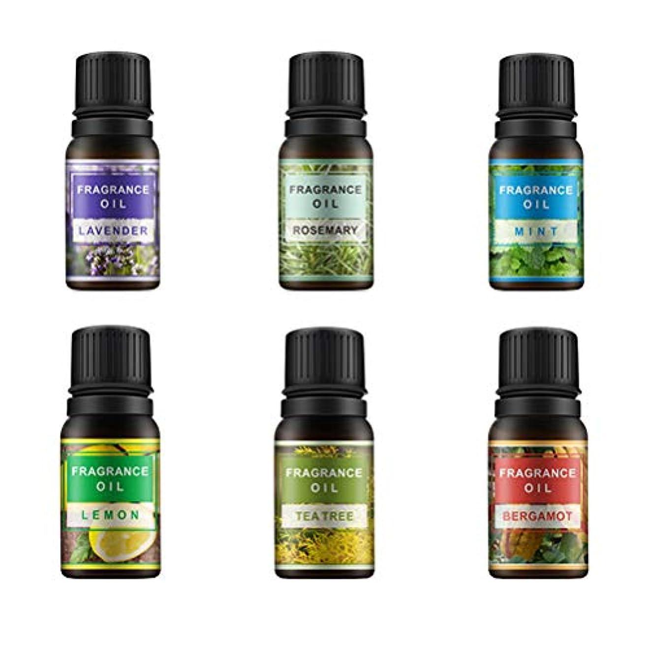 道徳できないホバーLurrose 6ピース10ミリリットル香りオイルエッセンシャルオイル治療香水アロマセットレモンラベンダーミントローズマリーティーツリーとベルガモット