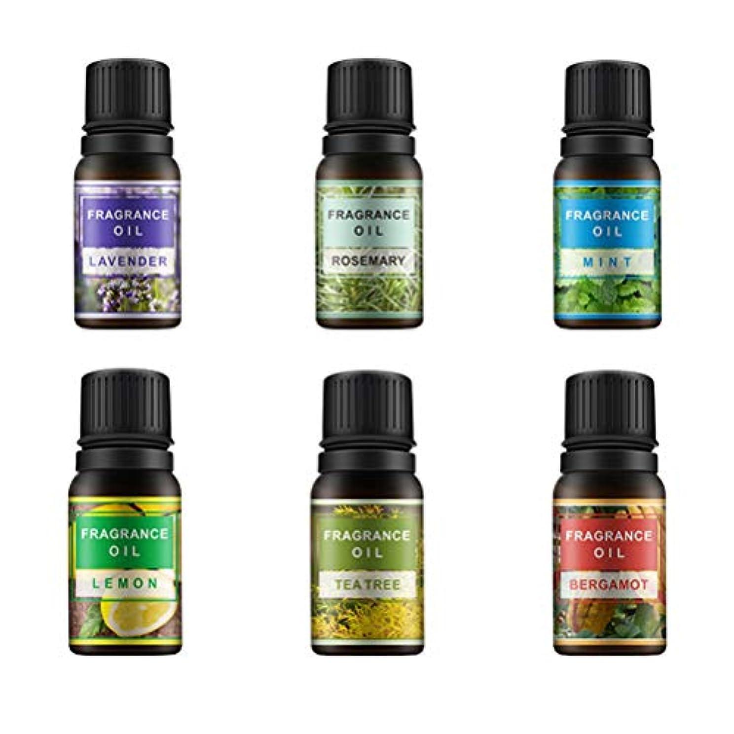 受益者育成水没Lurrose 6ピース10ミリリットル香りオイルエッセンシャルオイル治療香水アロマセットレモンラベンダーミントローズマリーティーツリーとベルガモット