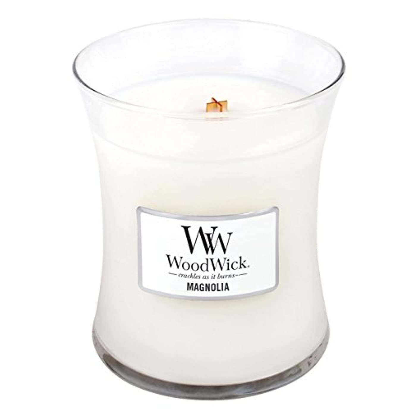 巨人亡命序文Woodwick Magnolia, Highly Scented Candle、クラシック砂時計Jar、Medium 4インチ、9.7 Oz