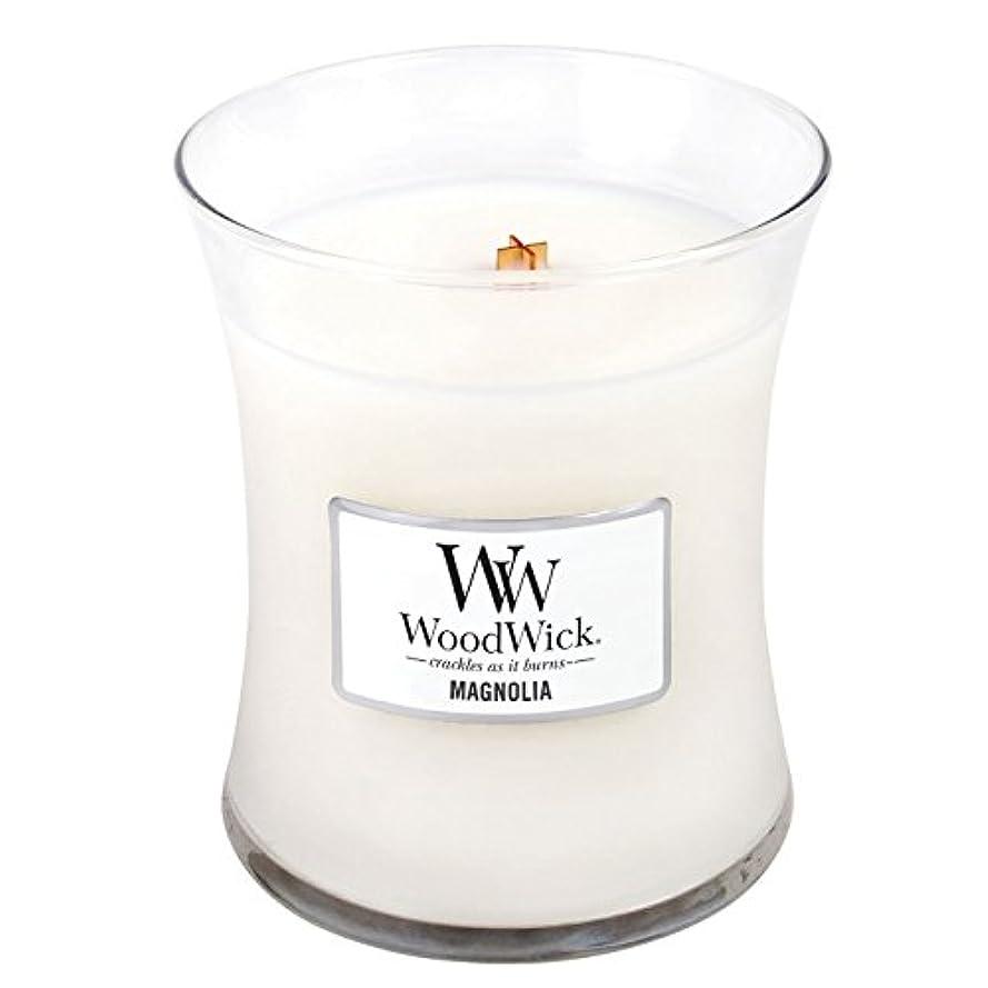 開始横向きみすぼらしいWoodwick Magnolia, Highly Scented Candle、クラシック砂時計Jar、Medium 4インチ、9.7 Oz