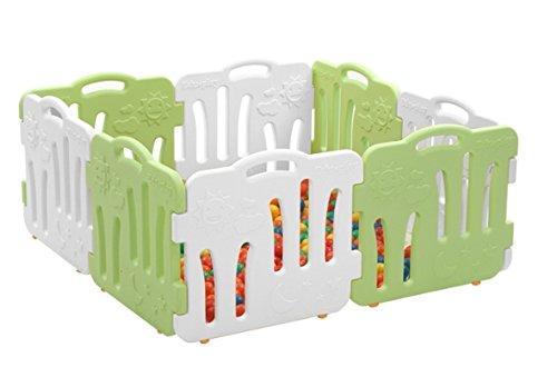 グッドベビールーム、セルフプレイ家、赤ちゃんフェンス、安全ガード、ベビー接続して拡張も可能、8P(並行輸入品) (green&white)