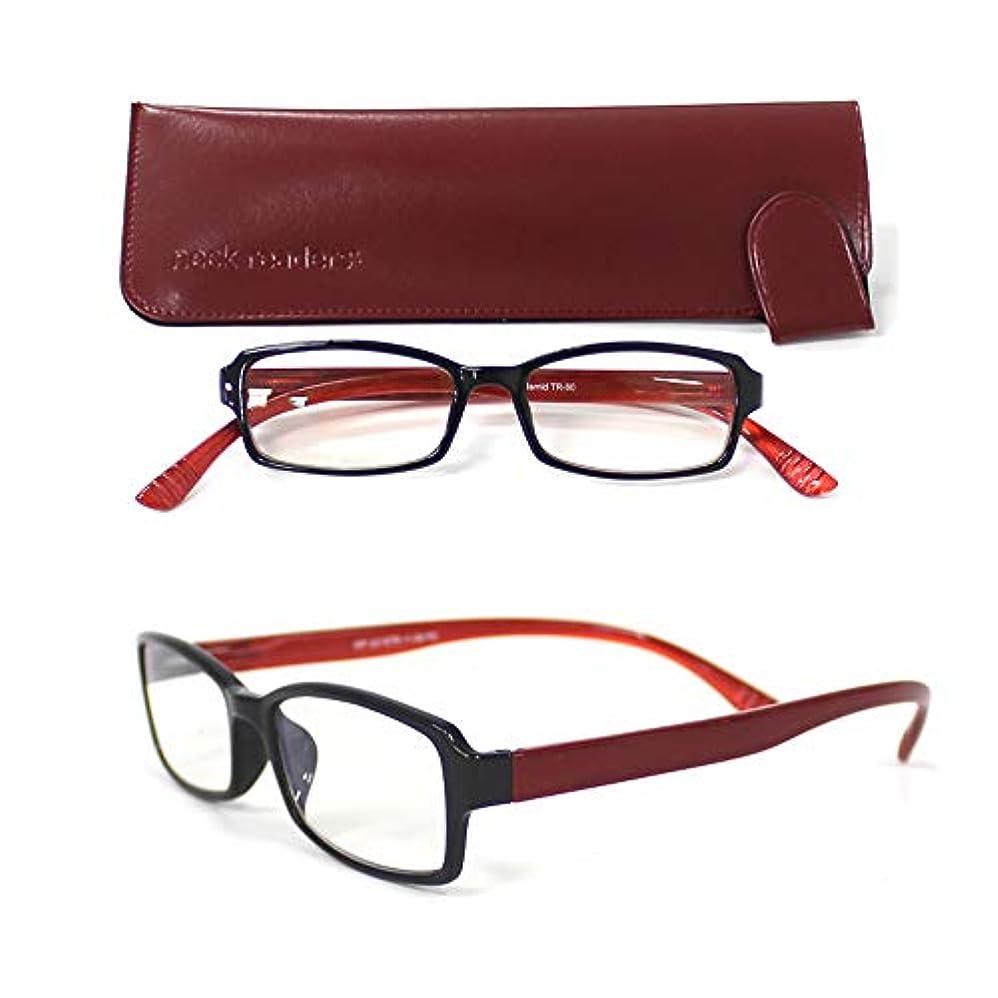 ネックリーダー?プレミアム レッド 度数 +2.0 首かけ PC老眼鏡 おしゃれ ブルーライトカット 男性用 女性用