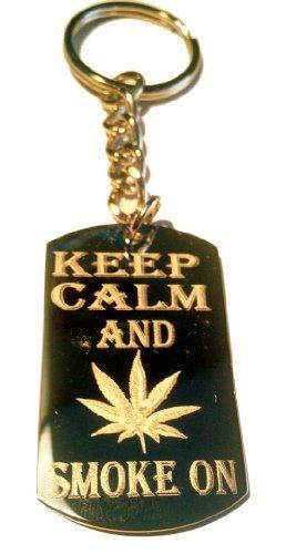 Keep and Smoke on Marijana Weed Pot Leaf Ganja Logo Symbols - Metal Ring Key Chain [並行輸入品]