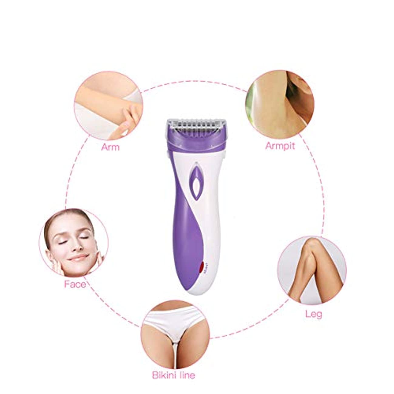 悪意のある下に動的女性の電気毛の除去剤、ボディ顔の毛の除去剤、小型方法女性首の足のビキニのトリマー