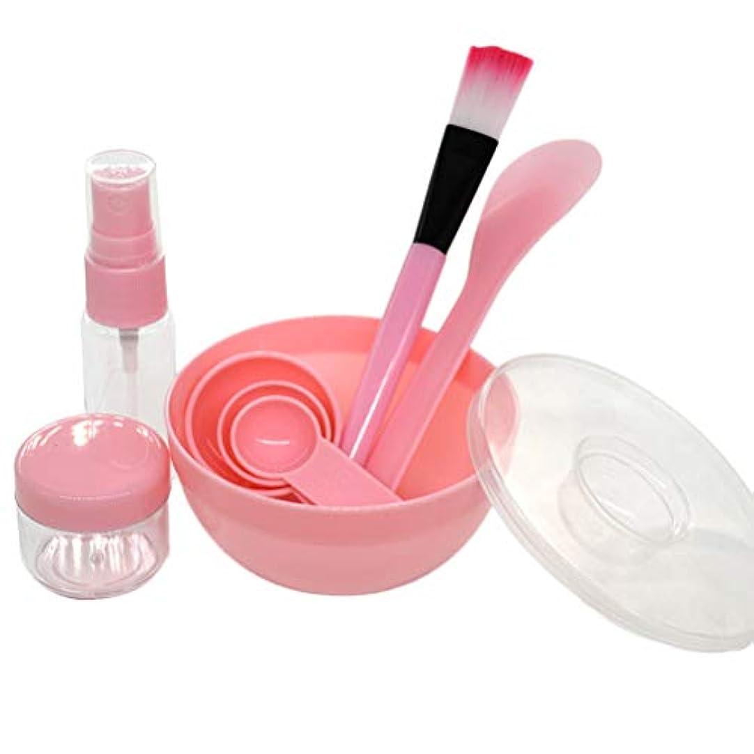 加害者汚染された分岐するLURROSE 9ピースフェイスマスクミキシングボウルセットdiyフェイスマスクフェイシャルマスクボウルブラシミキシングスティックセット(ピンク)