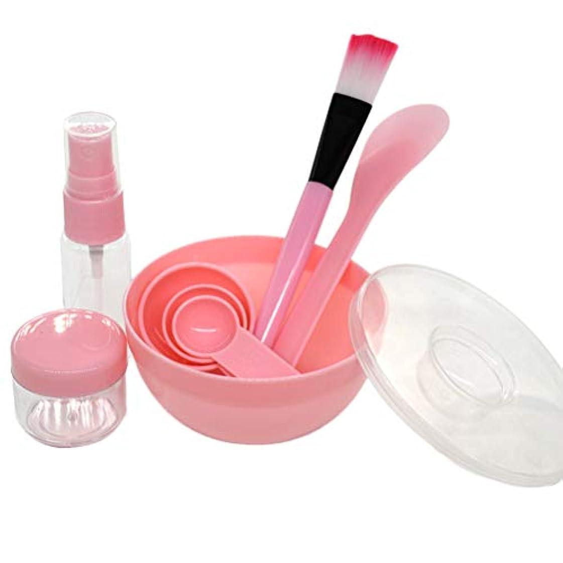 ディプロマメンダシティ累積LURROSE 9ピースフェイスマスクミキシングボウルセットdiyフェイスマスクフェイシャルマスクボウルブラシミキシングスティックセット(ピンク)