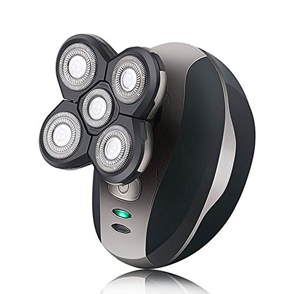 電気シェーバーカミソリヘッド5ヘッド充電式防水シャンプー自己保護光学ヘッドカミソリ (Color : ブラック)