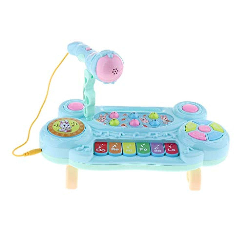 F Fityle 電子オルガン ピアノ キーボード マイクロフォン付き 音楽おもちゃ 2色選ぶ - ブルー