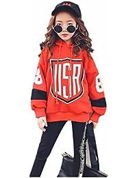 5477044606539 Burning Go 子供服 スウェット トレーナ 女の子 パーカー パンツ フード付き 長袖 プリント ヒップホップ ジュニア