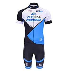 Veobike サイクルウェア・サイクルジャージ 自転車ウェア 通気 速乾 半袖 上下セット 3つの図案 スポーズ・アウトドア ボーイズ・メンズ 夏 (ブルー, M)