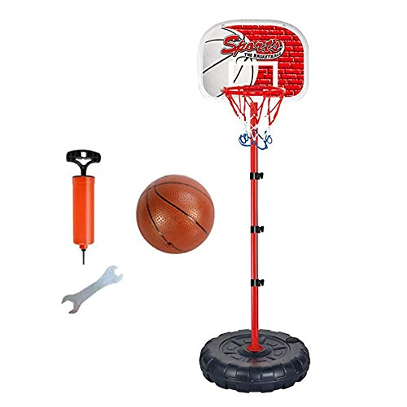 取り組む閉塞怒っているバスケットボールスタンド高さ調節可能なキッズバスケットボールゴールフープおもちゃセット男の子用バスケットボールトレーニング練習アクセサリー