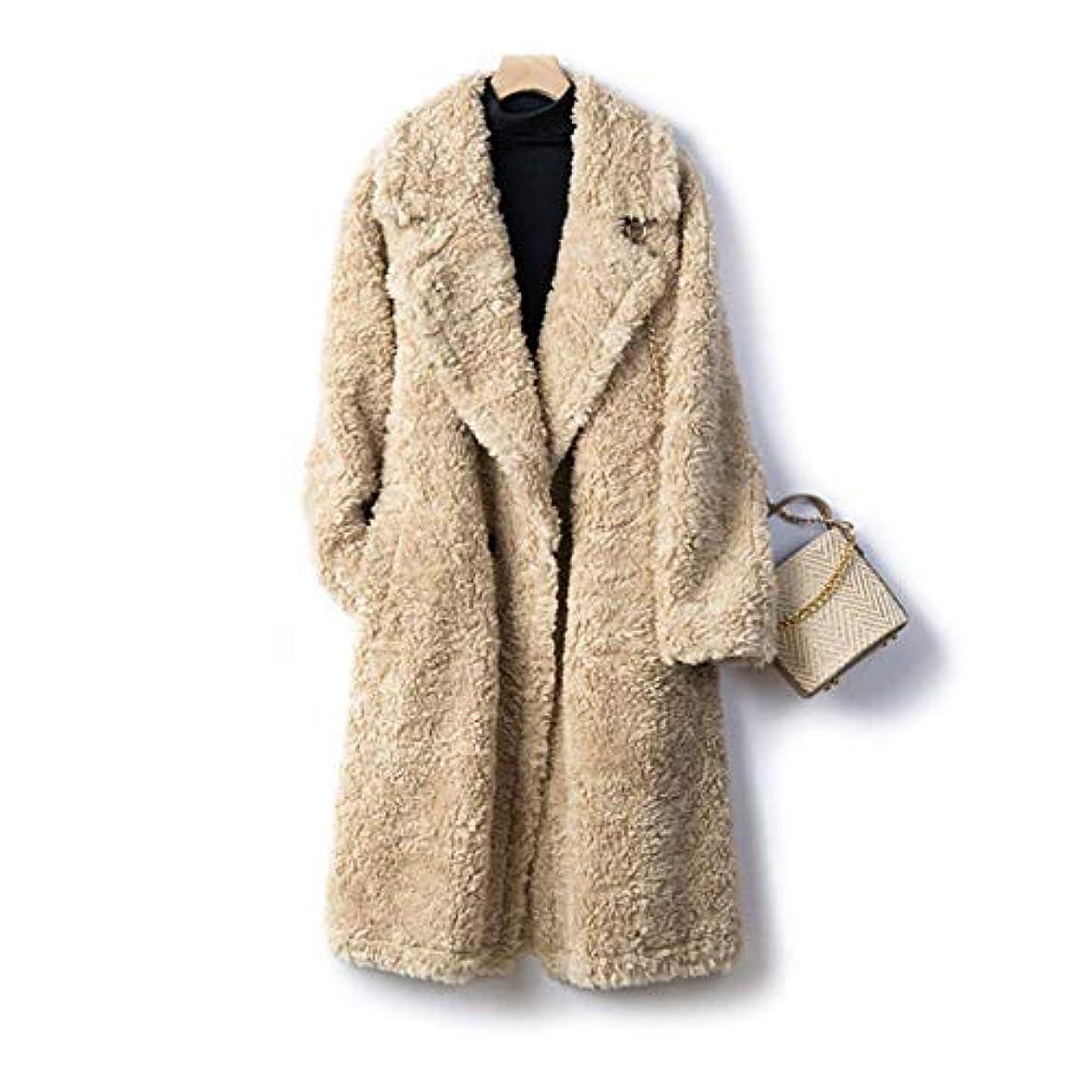 梨コア努力厚いウールのコート、女性のコートレディースウインドブレーカージャケット厚い羊のせん断顆粒ロングコートの女性のウールコート19秋と冬の婦人服,A,M