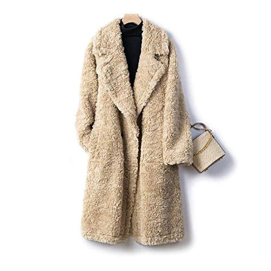 政治家のグローキノコ厚いウールのコート、女性のコートレディースウインドブレーカージャケット厚い羊のせん断顆粒ロングコートの女性のウールコート19秋と冬の婦人服,A,M