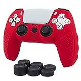 Ps5対応 コントローラー カバー PlayStation5 プレイステーション5 スキンケース シリコン素材 ソフト 純正 全面保護 グリップ 耐衝撃 滑り止め 簡単装着 (青) (赤)