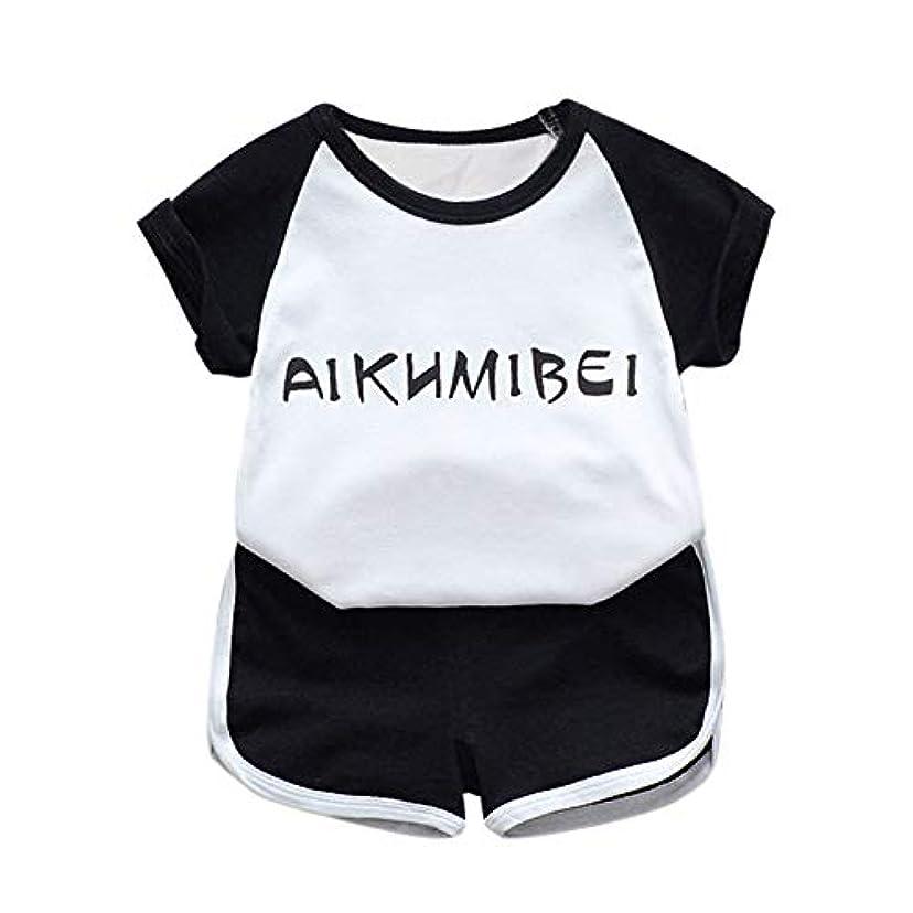 ひそかに特にから聞くRad子供 サマーキッズベビーボーイズカジュアル半袖レタープリントTシャツトップス+ショーツコスチュームセット