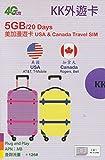 【KK】アメリカ (AT&T・T-Mobile)、カナダ(Rogers・Bell) 4G-LTE/3G 20日間 5GB データ通信 Wスタンバイ SIMカード W・Stand-by 外遊カード