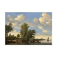 Salomon Van Ruysdael Dutch River Landscape Ferry Wall Art Print オランダの川風景壁