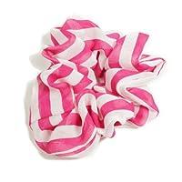 さわやかで涼しいカラフル縞模様シュシュ ピンク