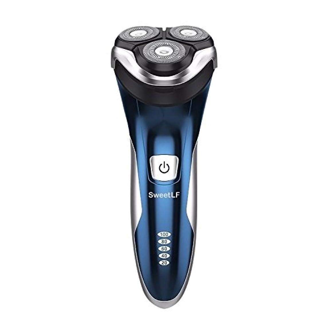 技術者タクシードライブSweetLF メンズ 電気シェーバー ひげそり 電気カミソリ 回転式 3枚刃 USB充電式 IPX7防水 お風呂剃り可 LEDディスプレイ トリマー付き