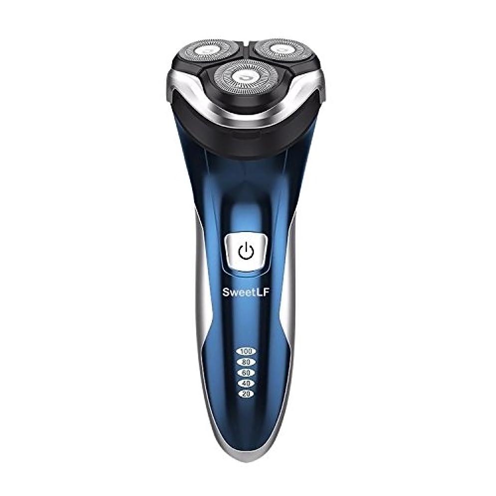 推定写真を撮るエンティティSweetLF メンズ 電気シェーバー ひげそり 電気カミソリ 回転式 3枚刃 USB充電式 IPX7防水 お風呂剃り可 LEDディスプレイ トリマー付き