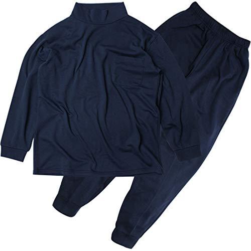 [ステイランド] 裏起毛 スウェット上下セット ハイネック 無地 胸ポケット有り メンズ (L, ネイビー)