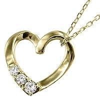 オープンハート ペンダントネックレス スリーストーン 18金YG 天然ダイヤモンド 約0.07ct チェーン長さ50cm