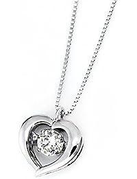 宝石の森 ダイヤモンド ネックレス 揺れる ダイヤ 一粒 プラチナ Pt900 0.3ct ハート ダンシングストーン 正規品 ペンダント