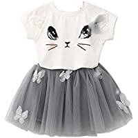 Halau 2 Pieces Set Baby Girl Cute Cat Pattern Shirt Top Skirt Suit Tutu Dress Set Clothes Outfits