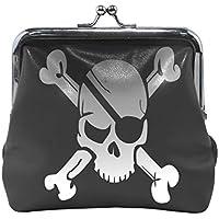 がま口 財布 口金 小銭入れ ポーチ 海賊 ドクロ Jiemeil バッグ かわいい 高級レザー レディース プレゼント ほど良いサイズ