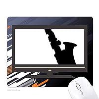 サックスのクラシック音楽の新鮮なリスニング ノンスリップラバーマウスパッドはコンピュータゲームのオフィス
