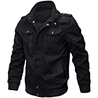 CRYSULLY Men's Fall Cotton Casual Windbreaker Military Air Force Coat Bomber Cargo Jackets Outdoor