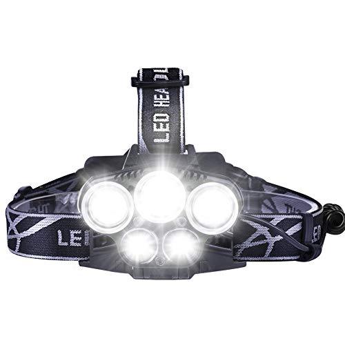 Qiilu LED ヘッドライト ヘッドランプ 5灯式 2000ルーメン 防水 充電式 6段階モード 角度調節可能 登山 アウトドア 防災用