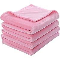 Kawahome フランネル 毛布 シングル マイクロファイバー フリース ブランケット 静電気防止 軽量 無地 あたたかい 柔らかい ケット ベッド ソファー 掛け毛布 (ピンク, 140cmⅹ200cm)