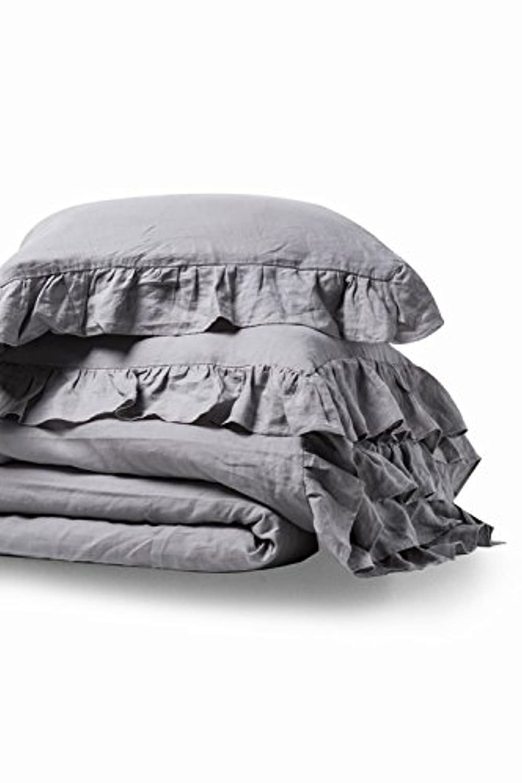 Marseilles 100 % Pure French Flax Linen Garment Stone Washedソフト用フリル付きクイーングレー3ピース布団カバーセット