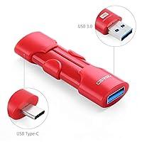 CERSO 32~256GB USB3.0 タイプCフラッシュドライブ 格納式サムドライブ MacBook Pro iPad タブレット 携帯電話 車 タイプCとUSBインターフェイスを備えたその他のデバイス用 ブラック 64GB レッド